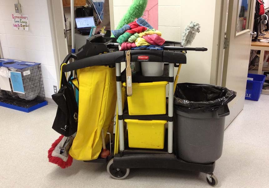 Janitorial Supplies on janitorial cart ready for cleaning rounds