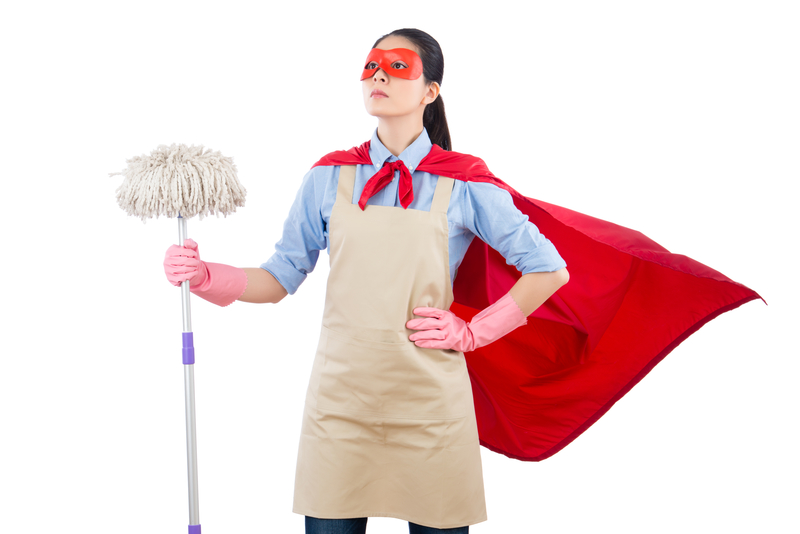 Cleaner dressed as a superhero