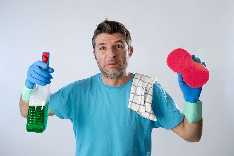 man going to clean but is stressed